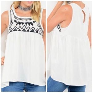 Tops - White Tank with Tribal Print